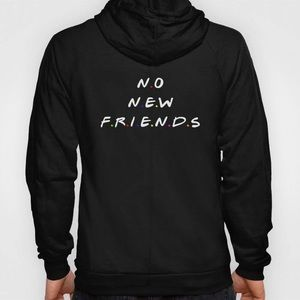 NEW Franchise Black No New Friends Hoodie Size L